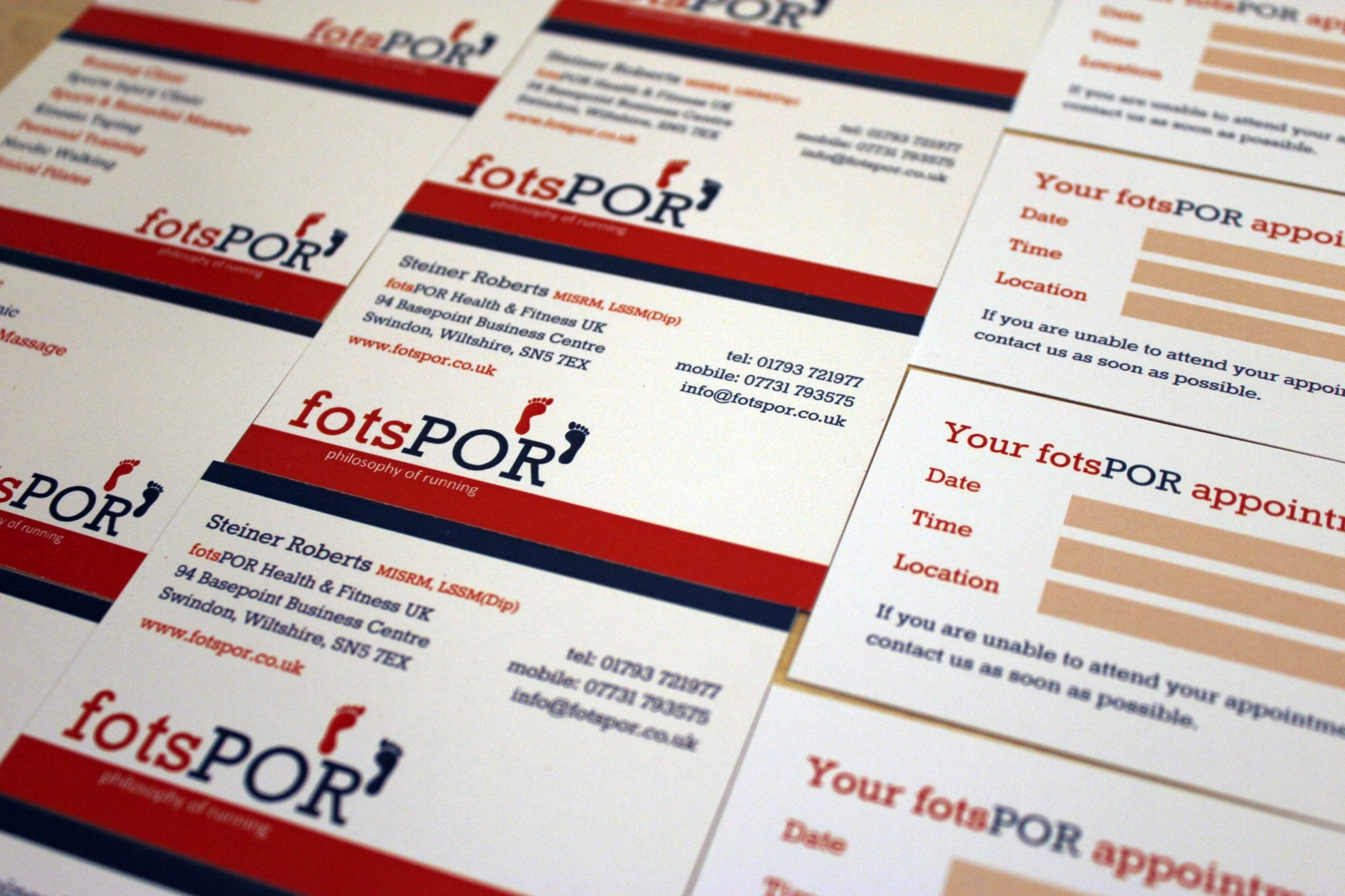 Business and Appointment Cards for fotsPOR UK • O\'Brien Media Ltd