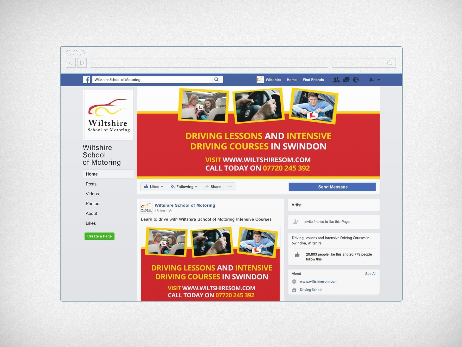 Facebook page creation and social media graphics for Wiltshire School of Motoring.jpg