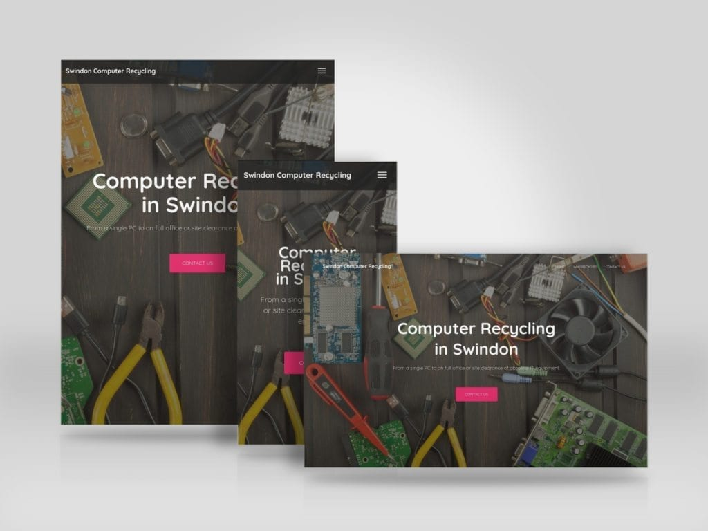Responsive landing page for Swindon Computer Recycling built with WordPress.jpg
