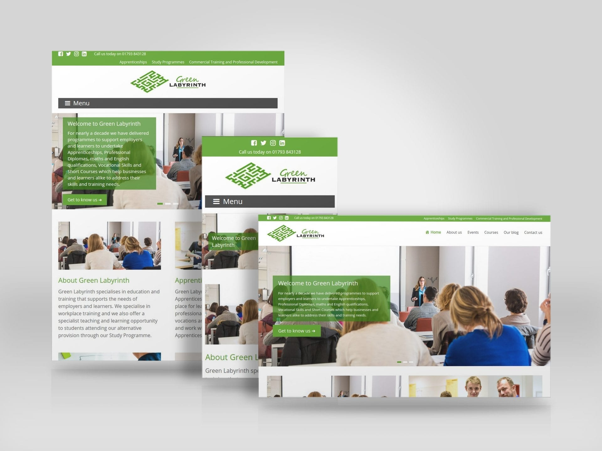 Mobile friendly responsive website for Royal Wootton Bassett based Green Labyrinth Training.jpg