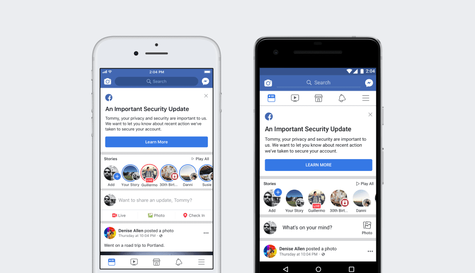 After affected Facebook users log back in they will get a notification at the top of their News Feed explaining what happened.