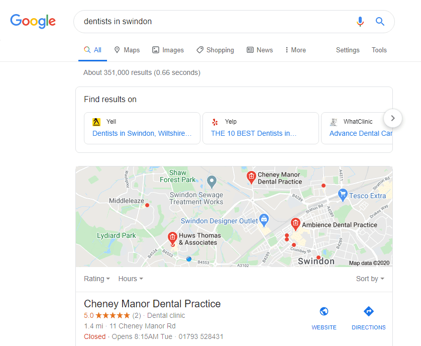 Google SERP showing links to other information providers in local search