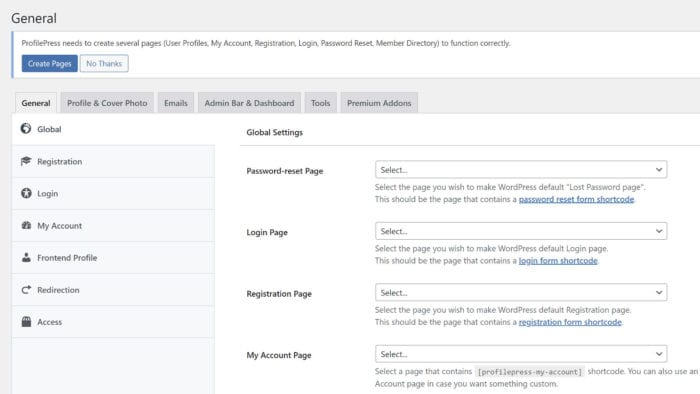 ProfilePress (formerly WP User Avatar) settings screen.